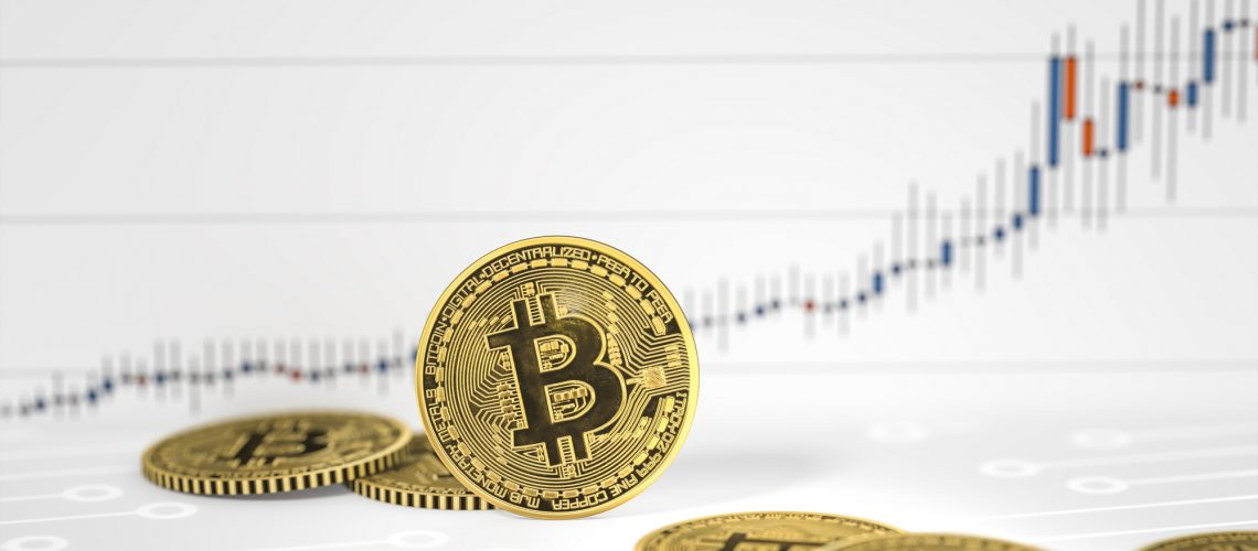 3d rendering of some bitcoin coins on a chart background